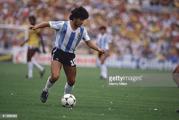 Soccer World Cup Argentina Diego Maradona in action vs Brazil Barcelona Spain 7/2/1982