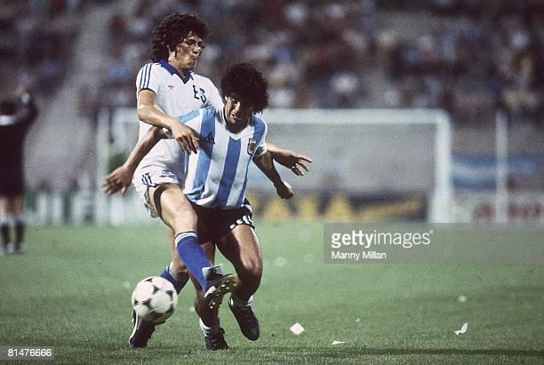 Soccer World Cup Argentina Diego Maradona in action vs El Salvador Alicante Spain 6/23/1982