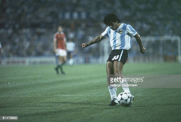 Soccer World Cup Argentina Diego Maradona in action vs Hungary Alicante Spain 6/18/1982