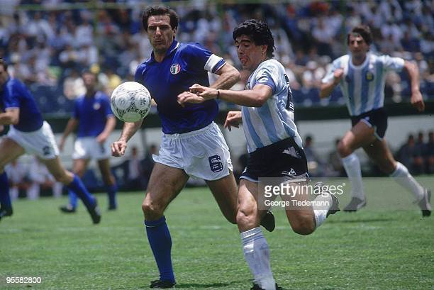 World Cup Argentina Diego Maradona in action vs Italy at Estadio Cuauhtemoc during First Round match at Estadio Cuauhtemoc Puebla Mexico 6/8/1986...