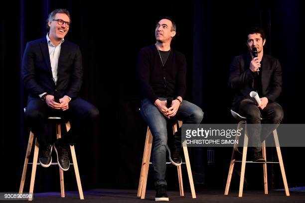 1998 soccer World Cup champions Youri Djorkaeff Laurent Blanc and Bixente Lizarazu speak during a press conference on March 12 2018 at French private...