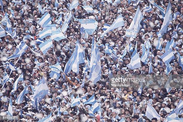 Soccer World Cup Final Argentina fans victorious in stands after winning game vs Netherlands Buenos Aires Argentina 6/25/1978