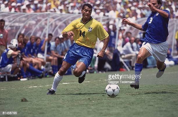 Soccer World Cup Final Brazil Romario in action vs Italy Antonio Benarrivo Pasadena CA 7/17/1994