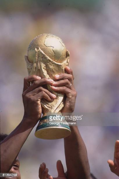 Soccer World Cup Final Closeup of FIFA World Cup Trophy after Brazil defeated Italy Pasadena CA 7/17/1994
