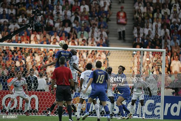 Soccer World Cup Final Italy Marco Materazzi in action scoring goal from head ball vs France Berlin Germany 7/9/2006