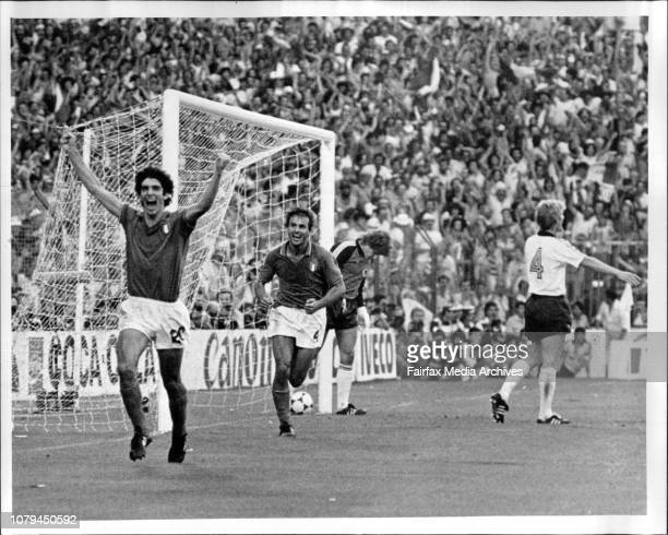 Soccer World Cup Final - Italy Vs W. GermanyItalian Paolo Rossi scores the winning goal for Italy to take over World cup 82. July 11, 1982. .