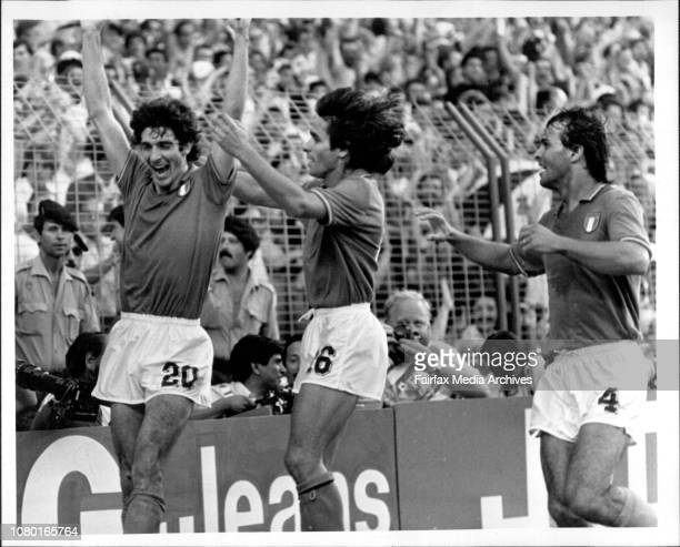 Soccer World Cup Final: Italy vs W. Germany.Italian Paolo Rossi scores the winning goal Italy to take over the World Cup 82.The glory days... Italian...