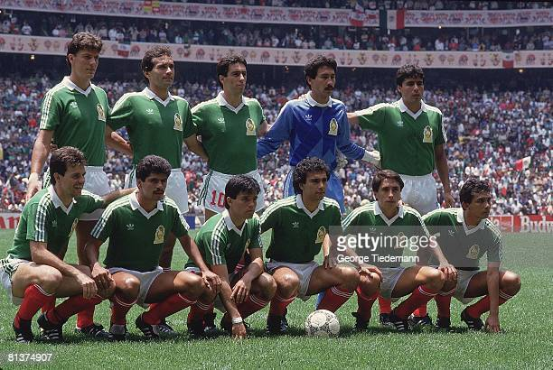Soccer World Cup Portrait of Team MEX before game vs Belgium MEX 6/3/1986