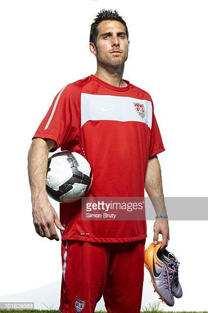 World Cup Preview: Portrait of US Men's National Team Carlos Bocanegra during training camp photo shoot at Roberts Stadium on Princeton University...