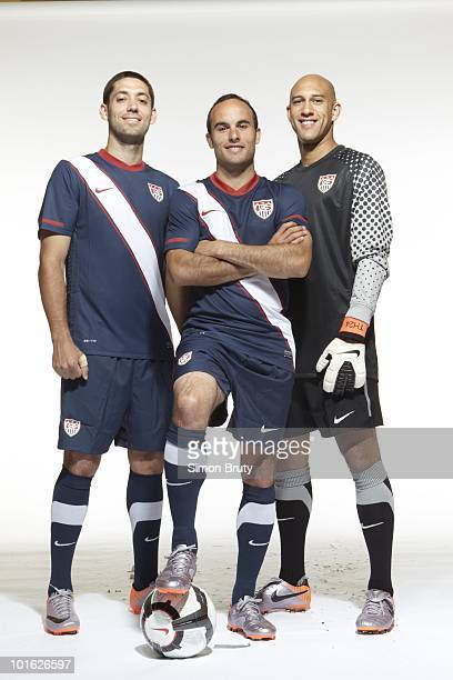 World Cup Preview Portrait of US Men's National Team Clint Dempsey Landon Donovan and goalie Tim Howard during training camp photo shoot at Roberts...