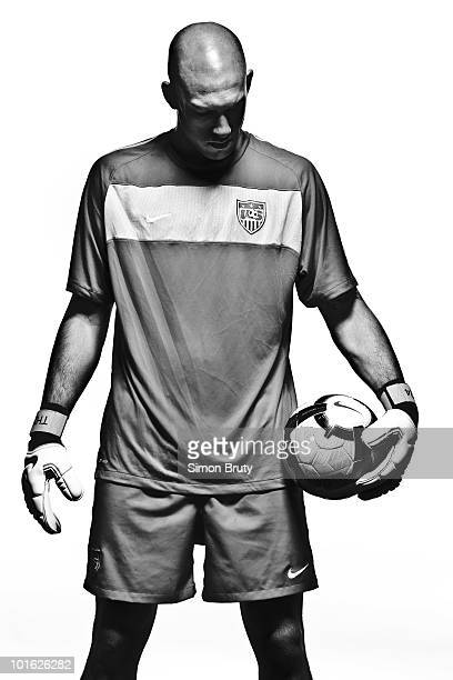 World Cup Preview Portrait of US Men's National Team goalie Tim Howard during training camp photo shoot at Roberts Stadium on Princeton University...