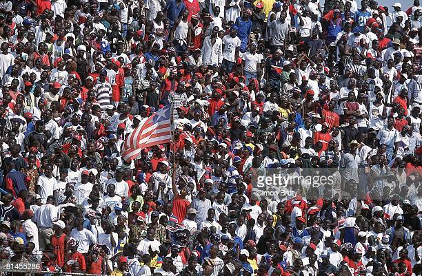 Soccer World Cup Qualifying LBR fans with flag during match vs Sierra Leone Monrovia Liberia 2/24/2001