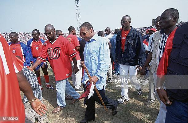Soccer World Cup Qualifying LBR President Charles Taylor attending match vs Sierra Leone Monrovia Liberia 2/24/2001
