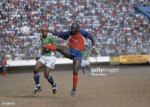 Soccer World Cup Qualifying LIB George Weah in action taking shot vs Sierra Leone Monrovia Liberia 2/24/2001