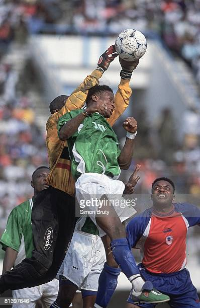 Soccer World Cup Qualifying Liberia goalie Koming Koming in action making save vs Sierra Leone Monrovia Liberia 2/24/2001