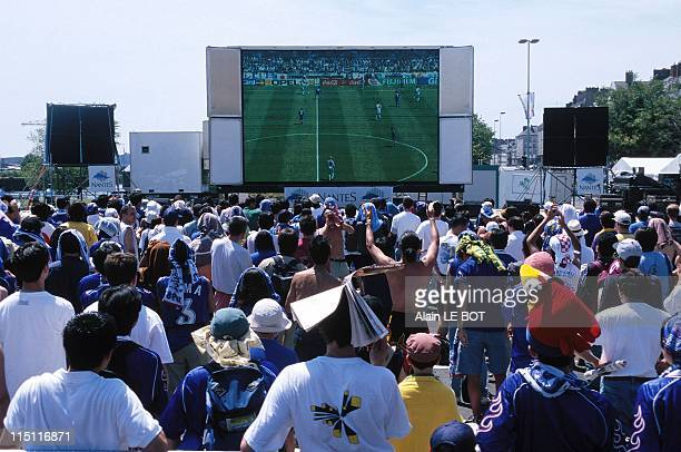 Soccer World Cup Supporters Ecran Geant watching match CroatiaJapan in Nantes France on June 16 1998
