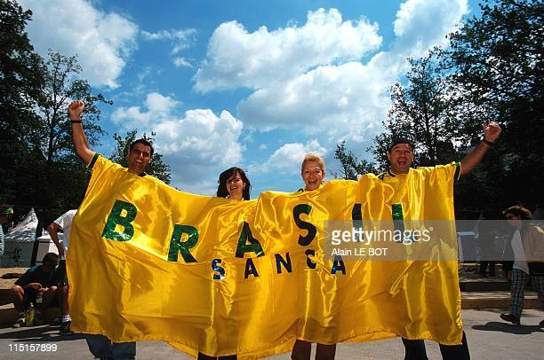 Soccer World Cup Supporters on 'Copacabana Beach' in Nantes France on June 16 1998 Brazilian Supporters