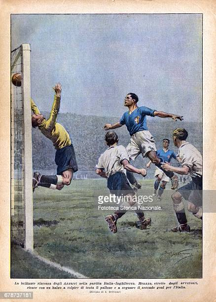 Soccer World Cup the match played 4 November 1934 ItalyEngland 23 final result illustration by Achille Beltrame back cover on the magazine 'Domenica...