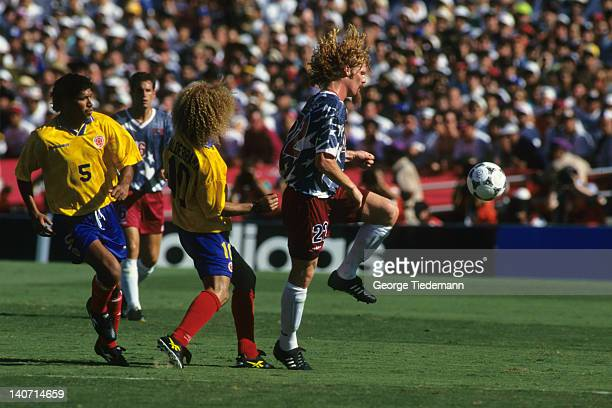 World Cup USA Alexi Lalas in action vs Colombia Carlos Valderrama during group stage match at Rose Bowl Stadium Pasadena CA CREDIT George Tiedemann