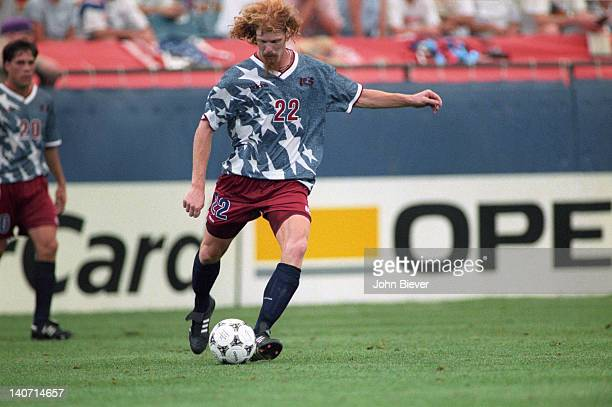 World Cup USA Alexi Lalas in action vs Switzerland during group stage match at Pontiac Silverdome Pontiac MI CREDIT John Biever