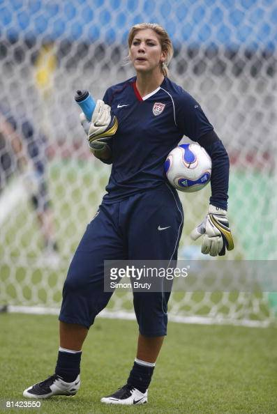 World Cup, USA goalie Hope Solo during warmups before game ...