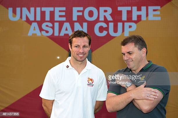 Socceroos Captain Lucas Neill and coach Ange Postecoglou during the AFC Asian Cup 'One Year To Go' media session at Federation Square on January 9...
