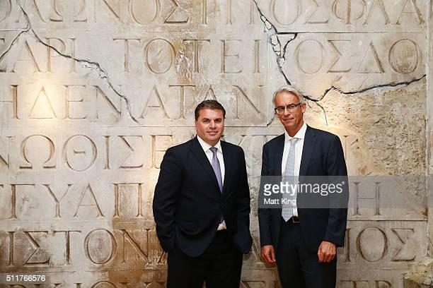 Socceroos coach Ange Postecoglou and FFA CEO David Gallop pose during an Australian Socceroos press conference at Alpha Restaurant on February 23...
