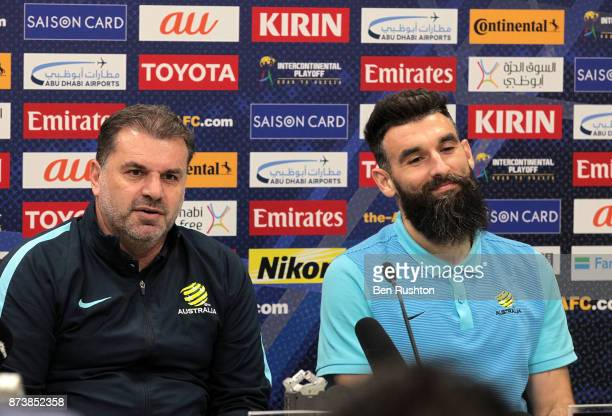 Socceroos coach Ange Postecoglou and Mile Jedinak at the Caltex Socceroos official pre match press conference before their match against Honduras...