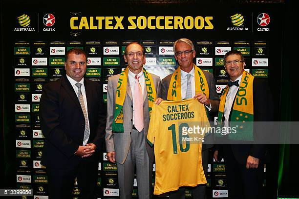 Socceroos coach Ange Postecoglou Managing Director and CEO Caltex Australia Julian Segal FFA CEO David Gallop and Caltex Australia Executive General...