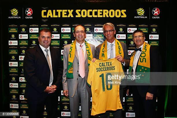 Socceroos coach Ange Postecoglou, Managing Director and CEO Caltex Australia Julian Segal, FFA CEO David Gallop and Caltex Australia Executive...
