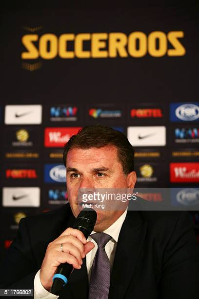 Socceroos coach Ange Postecoglou speaks during an Australian Socceroos press conference at Alpha Restaurant on February 23 2016 in Sydney Australia