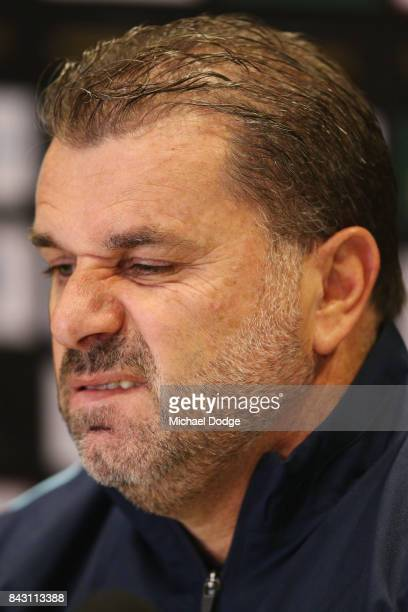 Socceroos coach Ange Postecoglou speaks to the media during a press conference at on September 6 2017 in Melbourne Australia