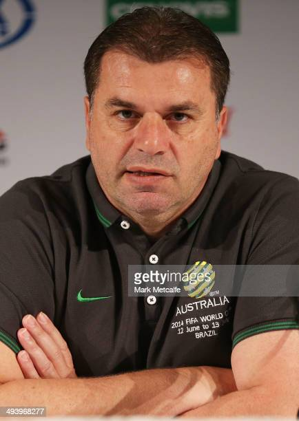 Socceroos coach Ange Postecoglou speaks to the media during an Australian Socceroos media session at The Intercontinental on May 27 2014 in Sydney...