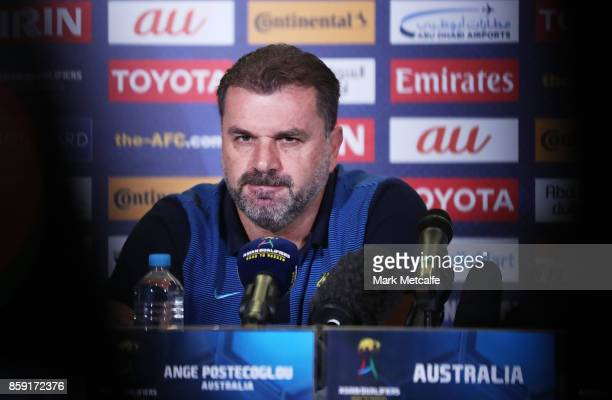 Socceroos coach Ange Postecoglou talks to media during an Australia Socceroos press conference at ANZ Stadium on October 9 2017 in Sydney Australia