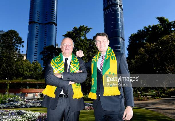 Socceroos Coach Graham Arnold and Lord Mayor of Brisbane Graham Quirk pose for a photo after the announcement that the Socceroos will play against...