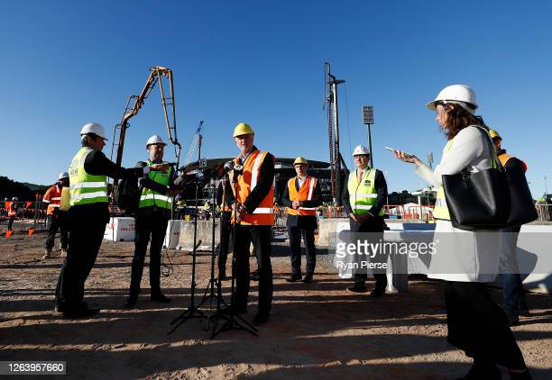 Socceroos Coach Graham Arnold speaks to the media at the new Sydney Football Stadium on August 05 2020 in Sydney Australia Construction on the new...