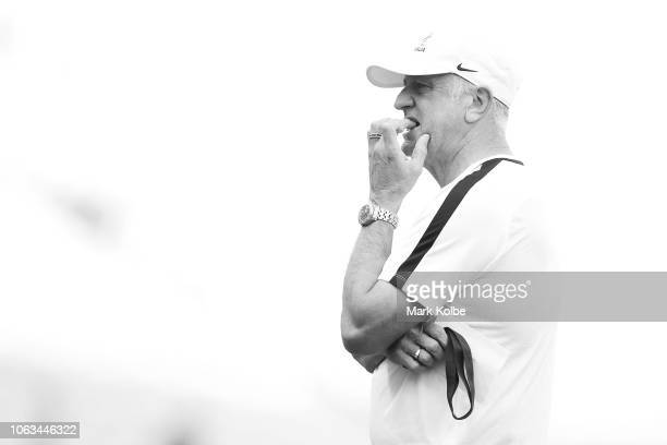 Socceroos coach Graham Arnold watches on during an Australian Socceroos training session at ANZ Stadium on November 19 2018 in Sydney Australia