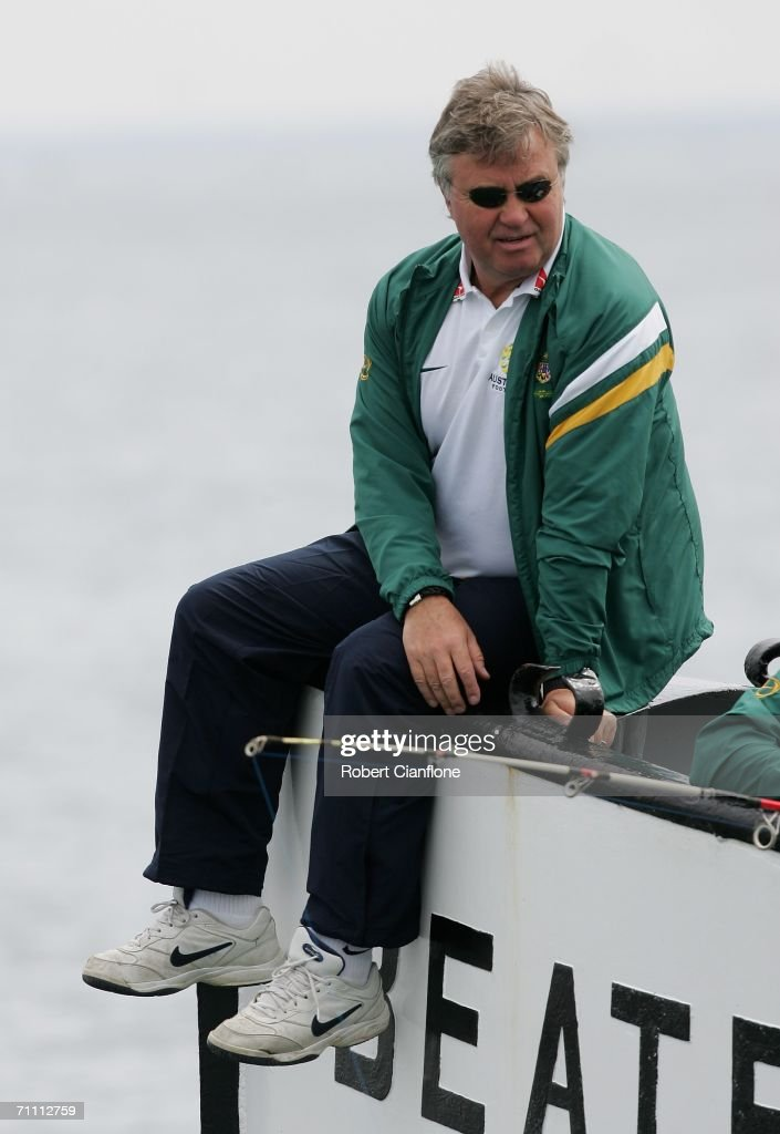 Socceroos coach Guus Hiddink looks on during a fishing excursion on break from preparations by Australia for the 2006 World Cup held at the Yereske Village June 2, 2006 in Yereske, Netherlands.