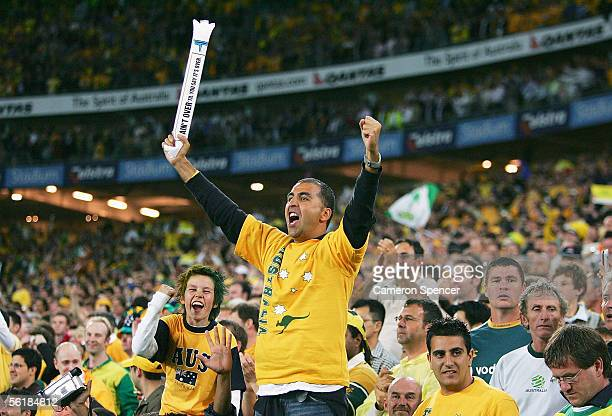 Socceroos fan celebrates Australia's victory after the second leg of the 2006 FIFA World Cup qualifying match between Australia and Uruguay at...