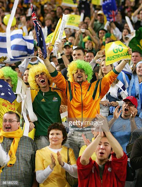 Socceroos fans enjoy the atmosphere during the second leg of the 2006 FIFA World Cup qualifying match between Australia and Uruguay at Telstra...