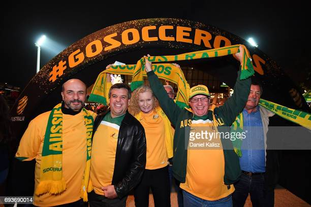Socceroos fans enjoy the atmosphere prior to the 2018 FIFA World Cup Qualifier match between the Australian Socceroos and Saudi Arabia at the...
