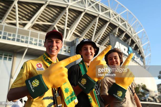 Socceroos fans pose before the 2018 FIFA World Cup Qualifiers Leg 2 match between the Australian Socceroos and Honduras at ANZ Stadium on November 15...