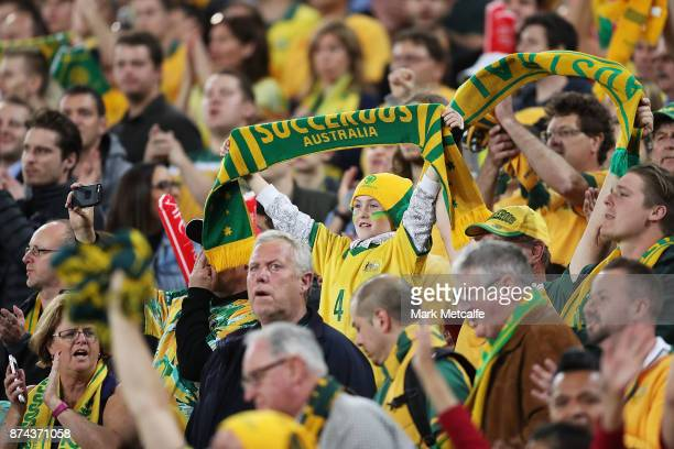 Socceroos fans show their support during the 2018 FIFA World Cup Qualifiers Leg 2 match between the Australian Socceroos and Honduras at ANZ Stadium...