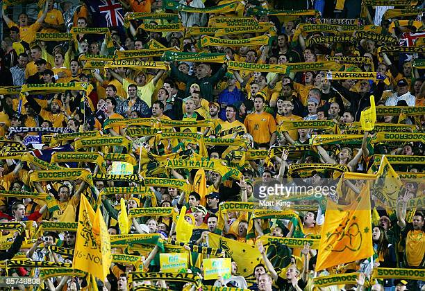 Socceroos fans sing the national anthem before the 2010 FIFA World Cup qualifying match between the Australian Socceroos and Uzbekistan at ANZ...