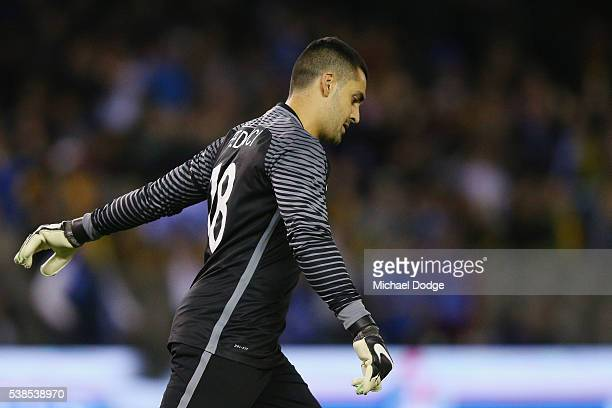 Socceroos goalkeeper Adam Federici reacts after conceding a long range goal by Ioannis Maniatis of Greece during the International Friendly match...