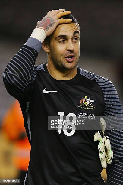 Socceroos goalkeeper Adam Federici who let a long range goal fly over his head when well out on the field reacts after the International Friendly...