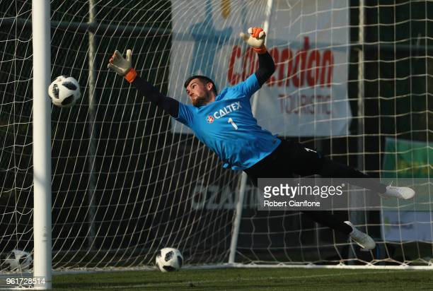 Socceroos goalkeeper Mathew Ryan makes a save during the Australian Socceroos training session at the Gloria Football Club on May 23 2018 in Antalya...
