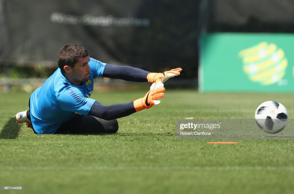 Socceroos goalkeeper Mathew Ryan makes a save during the Australian Socceroos Training Session at the Gloria Football Club on June 4, 2018 in Antalya, Turkey.