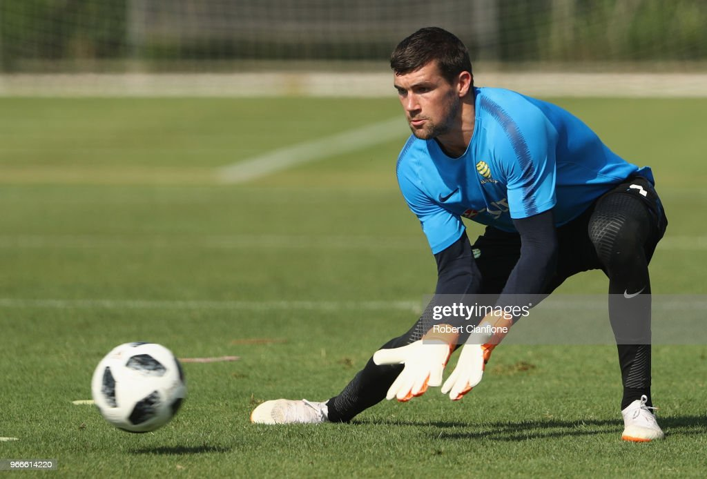 Socceroos goalkeeper Mathew Ryan takes the ball during the Australian Socceroos Training Session at the Gloria Football Club on June 3, 2018 in Antalya, Turkey.