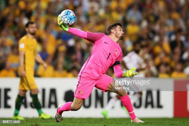 Socceroos goalkeeper Mathew Ryan throws the ball during the 2018 FIFA World Cup Qualifier match between the Australian Socceroos and United Arab...